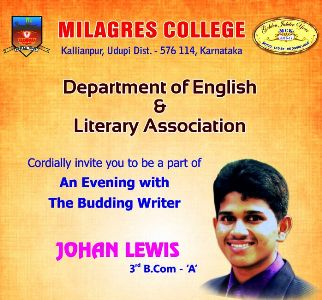 Welcom to an evening with the budding writter at Milagres College, Kallianpur