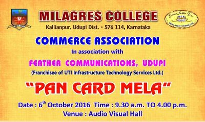 Pan Card Mela at Milagres College on 6th October.