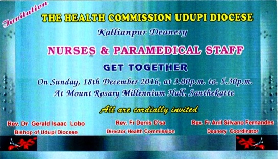 Diocese of Udupi - Nurses and Paramedical Staff get together.