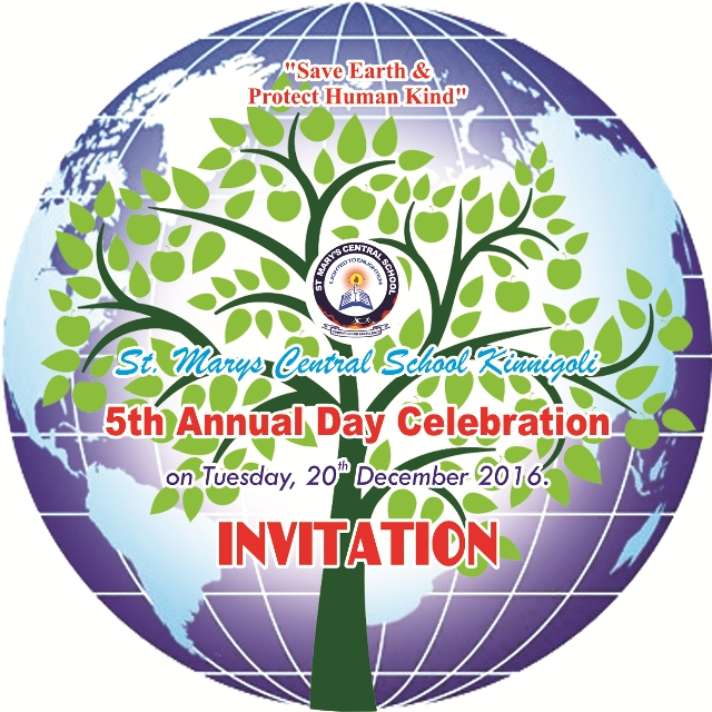 St. Mary's Central School, Kinnigolli Annual Day Invitation