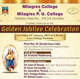 All are Invited for the Golden Jubilee Celebration of Milagres College, Kallianpur