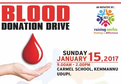 Blood Donation Drive @ Carmel School, Kemmannu on Jan 15.