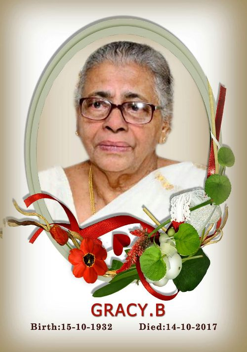 <font color=red><center>Obituary:<P> </font color=red></center> Gracy B, age 85 years, Mount Rosary, Kallianpur<P> <Center>[Comments]</P> </Center>