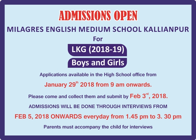 Admissions Open at Milagress