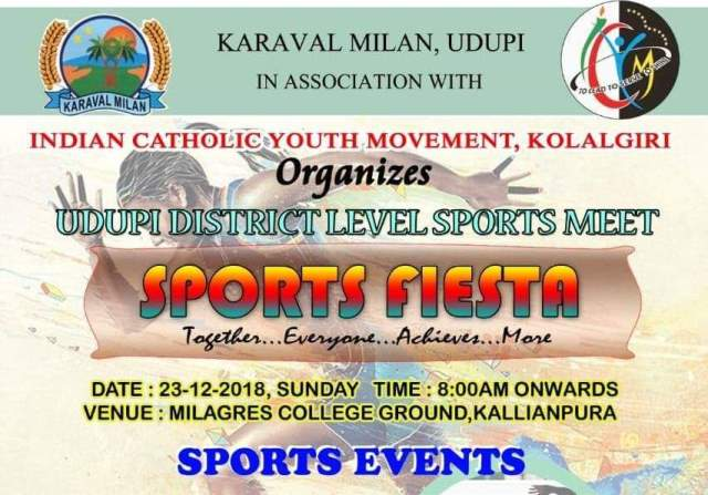 Karaval Milan Sports Event on 23rd December at Milagres Ground, Kallianpur.