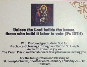 Invitation for inauguration and Blessing of the church at Choithar