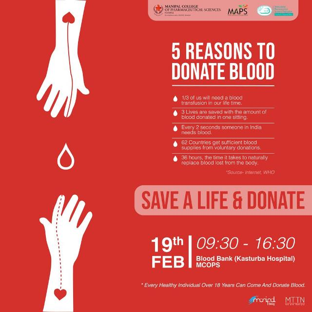 Blood donation camp at Manipal on 19th Feb.