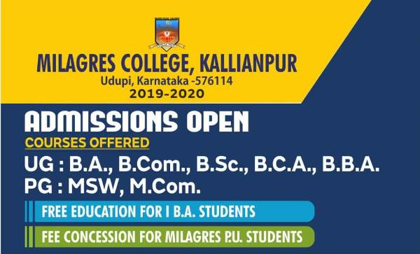 Admissions Open @ Milagres College, Kallianpur
