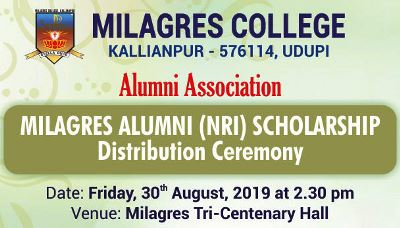 Milagres Alumni (NRI) Scholarship distribution on 30th August.