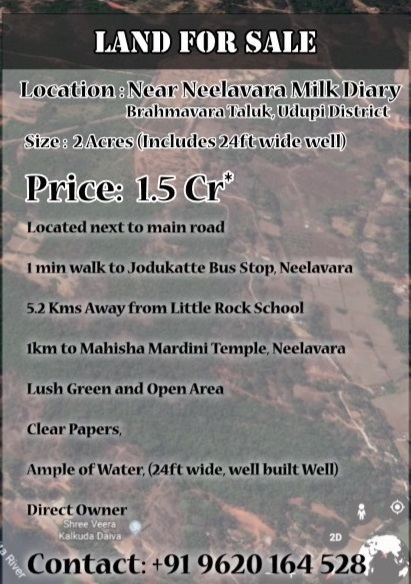 Land for Sale at Neelavara, Udupi District.