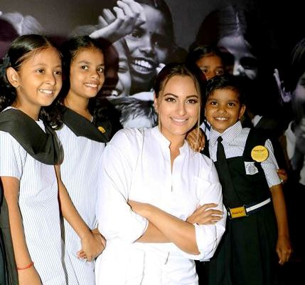 Actress Sonakshi Sinha during Project Nanhi Kali, the 'Proud Fathers For Daughters' initiative in Mumbai