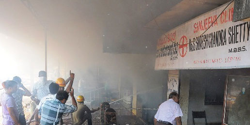 Bantwal: Shop-godown-clinic gutted in fire, loss estimated at Rs 20 lac