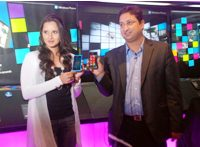 Ace Tennis Player Sania Mirza poses during the launch of Nokia Lumia family Smartphone in Mumbai