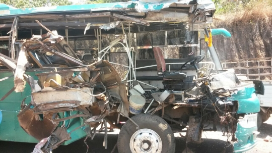 Another ghastly accident near Mulky, three critical