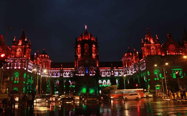 Mumbai's Chhatrapati Shivaji Terminus Light Up In Tricolour Lights