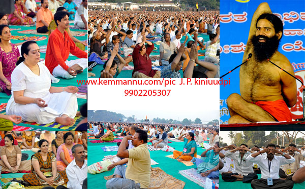 Udupi: Popular Yoga guru Baba Ramdev's Yoga Camp held at MGM Ground