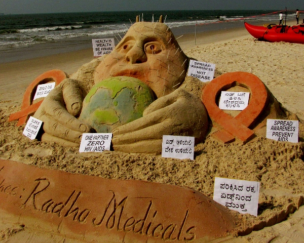 World Aids Day Sculpture by Manipal Sand Heart