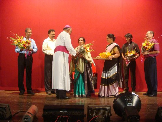 Bishop honours Meena Rebimbus during Wilfy Nite Show at Borivli