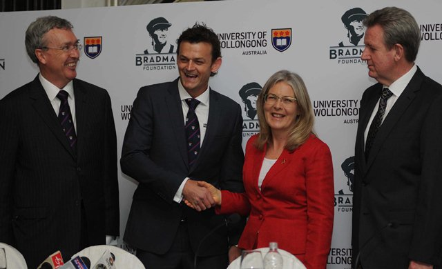 University of Wollongong's launch of annual scholarship in the honor of Donald bradman by Adam Gilchrist