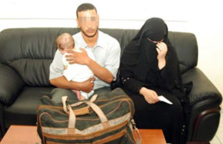 Couple caught smuggling baby in bag at airport