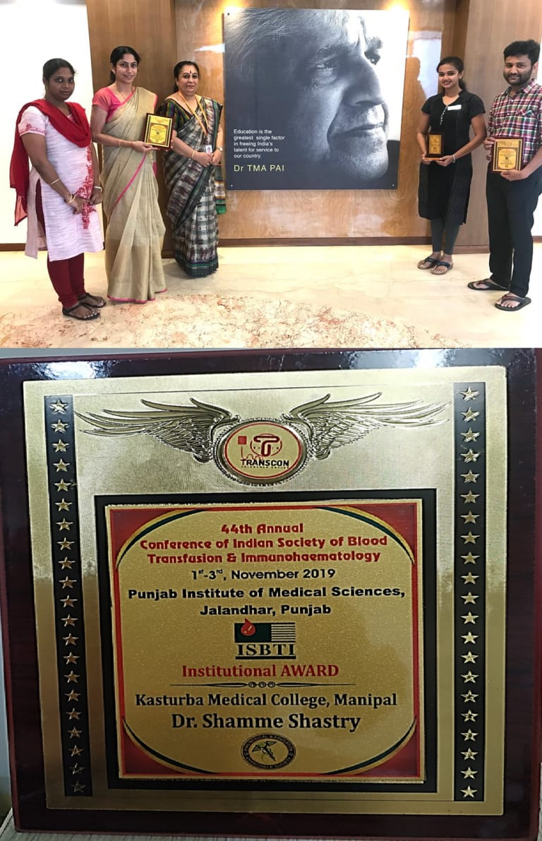 Department of Immunohematology and Blood transfusion, Kasturba Medical College Manipal gets National Award