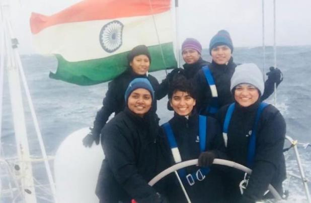 All-women crew sailboat of Indian Navy docks at UK island