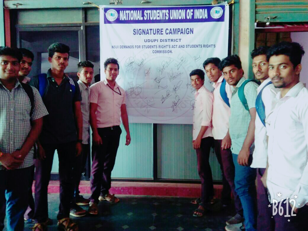 NSUI demands for students rights Act and Students rights' Commission
