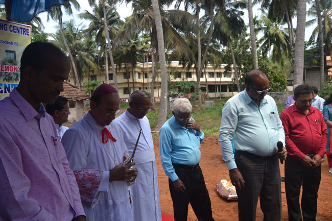 Bishop Gerald Lobo lays foundation stone for Manasa Autism Centre at Pamboor