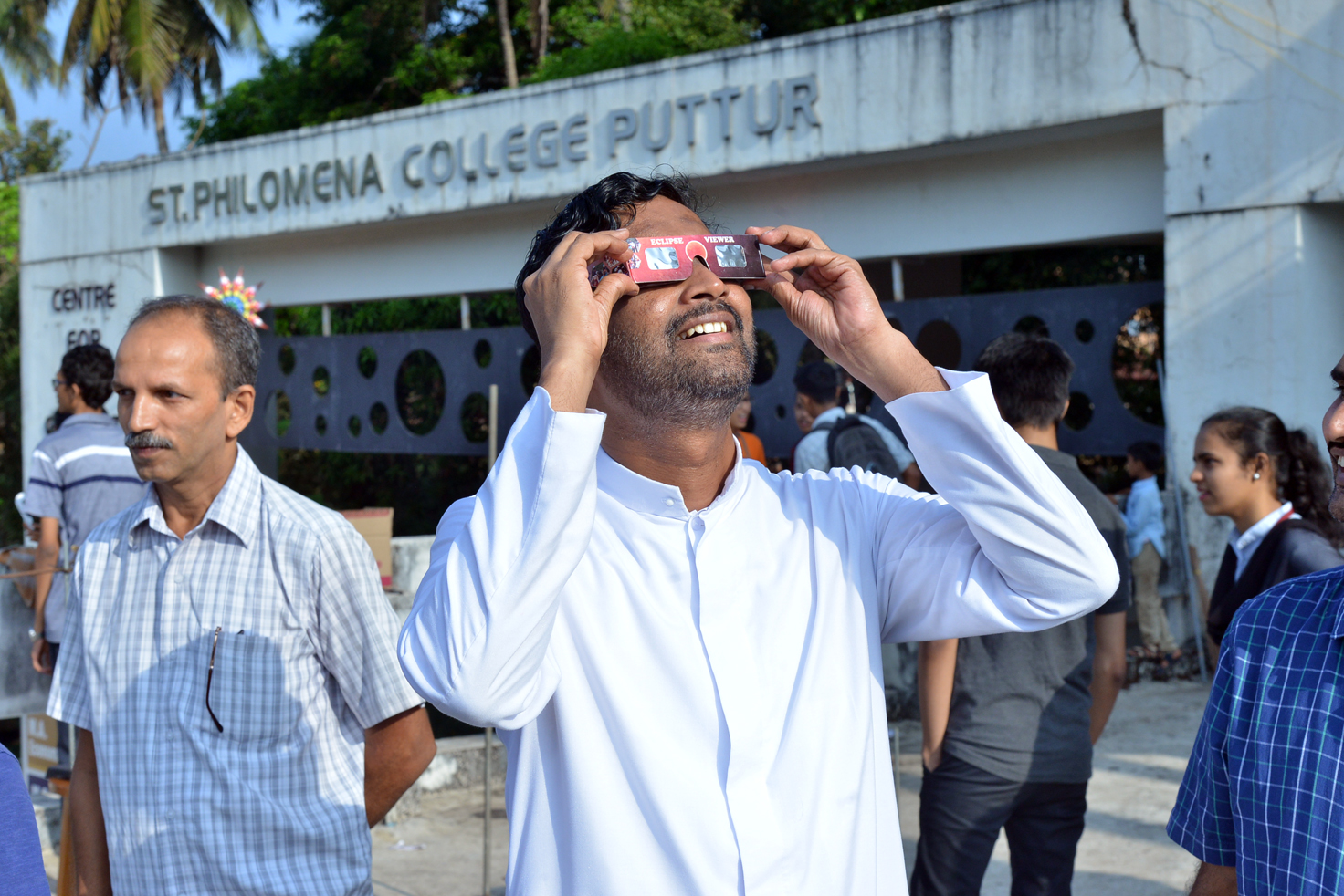 Annular Solar Eclipse observed at St Philomena College Puttur