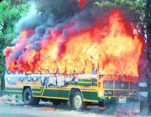 5 charred to death after private bus catches fire in Karnataka's Chitradurga