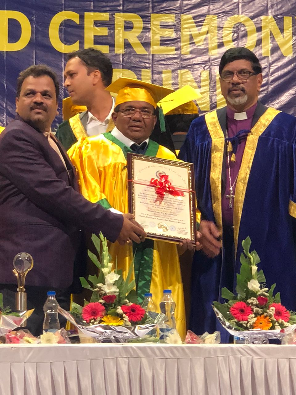 Gilbert Simon D'Souza of Nidamballi, Thonse get Honorary Doctorate for social work