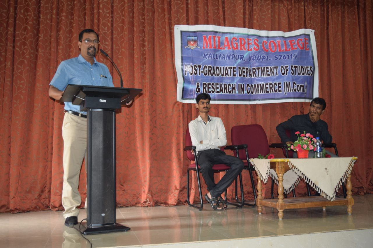 Guest lecture on 'Cash to Cashless' held at Milagres College, Kallianpur