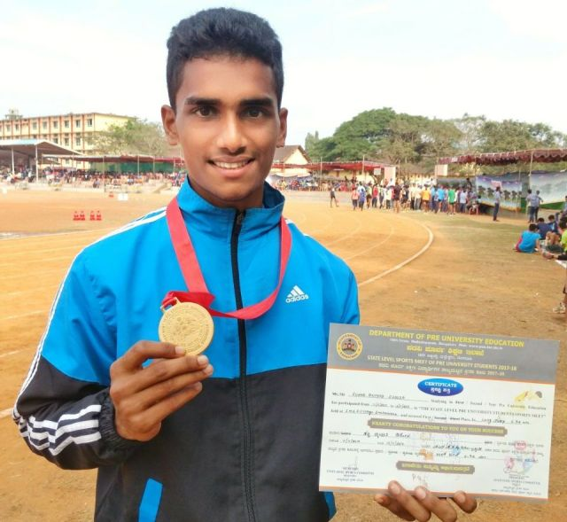 Kemmannite Sunny Dsouza of Milagres wins Gold at State and enters National Level