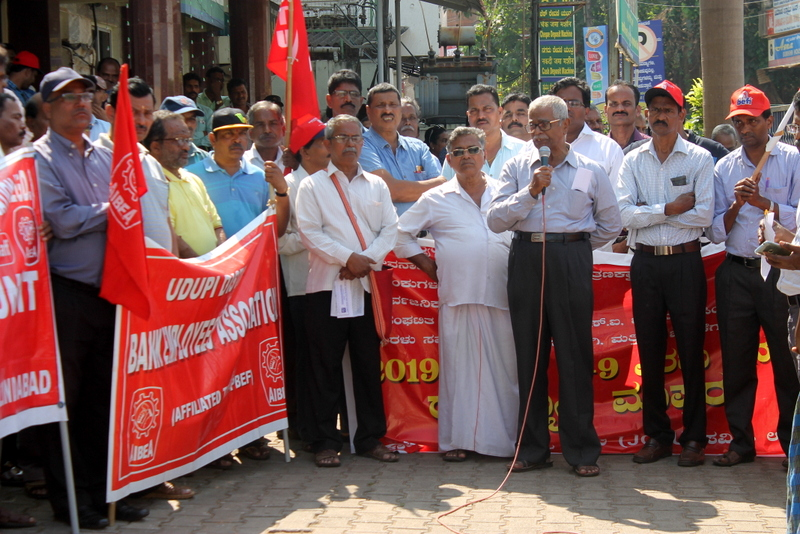 Peaceful and partial response for nationwide Bandh call at Udupi district