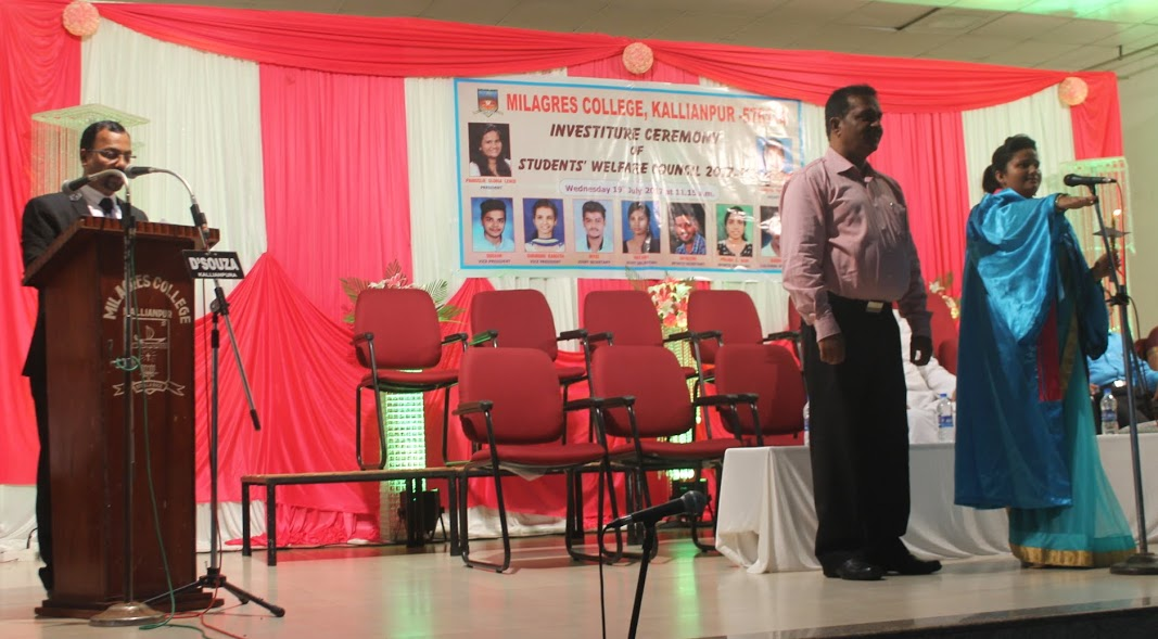 The Investiture ceremony of Milagres College Students Welfare Council for 2017/18 held