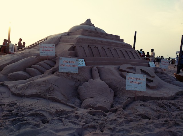 Healthy voter Awareness Sculpture at Malpe Beach.