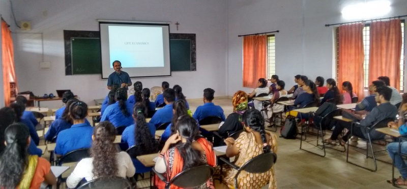 Guest lecture on Life Economics at Milagres College, Kallianpur