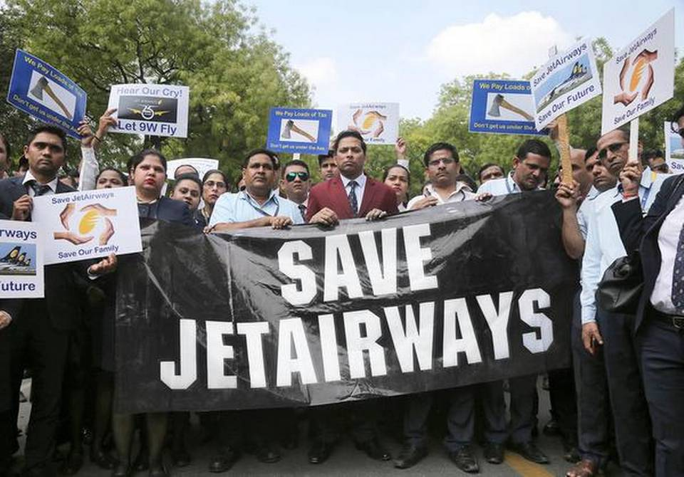 Jet Airways employees stage protest