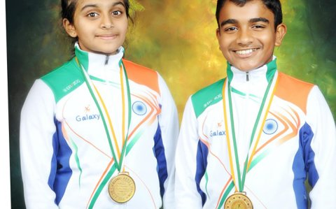 Two school students from Mangaluru win Gold Medals in national Ice Skating Championship