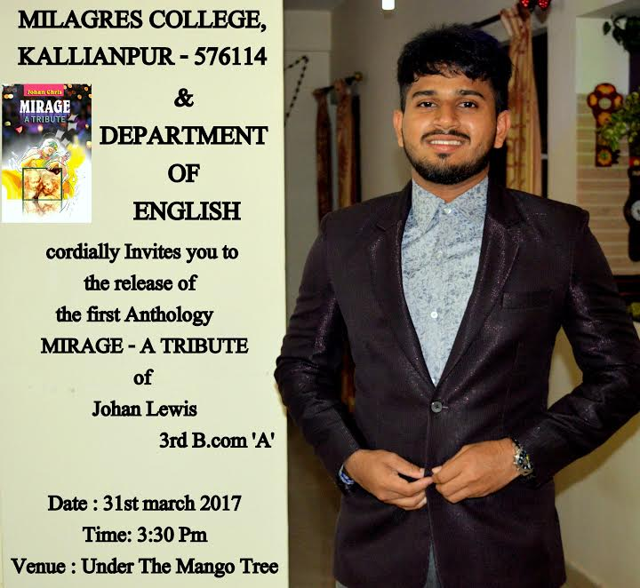 Author Johan Chris launching his first book 'Mirage - A Tribute' on 31st March at Milagres College