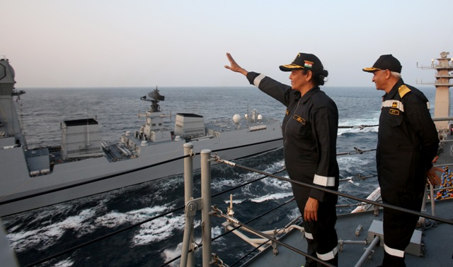 Defence Minister Nirmala Sitharaman presides over India's show of naval might off western coast