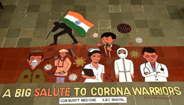 Udupi: Independence day dedicated to corona warriors through huge painting.