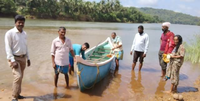 Udupi Floods: Lost Country Boat handed over to the owners at Kukkude/Kemmannu.