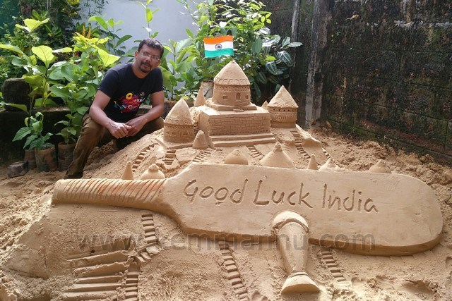India vs Pakistan Final, Champions Trophy 2017 - Good Luck Wishes from Manipal Sand Arts.