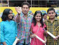 Tendulkar bats for promotion of education among underprivileged kids