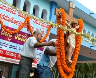 Post Centenary Silver Jubilee Cross Reaches St Anna's Chruch, Thottam