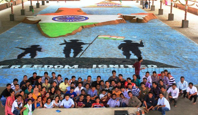 Independeced day celebration with Mega sand painting at NITTE