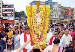 Post Centenary Silver Jubilee Cross Reaches Mother of Sorrows Church, Udupi
