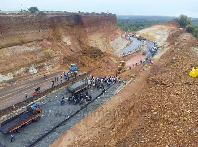 Landslide hits NH 66 widening work, traffic