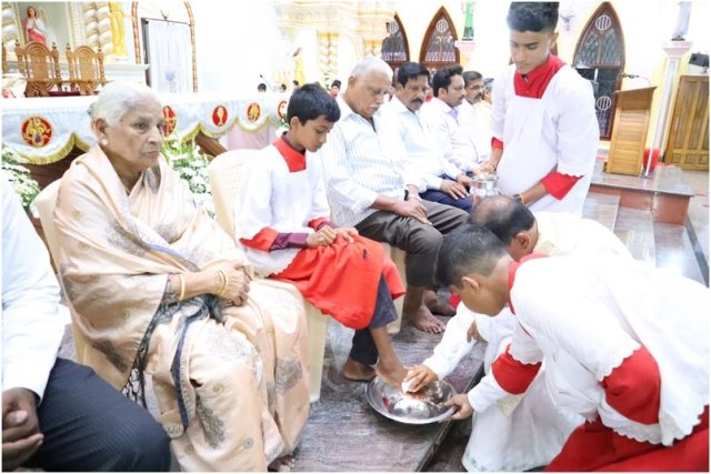Maundy Thursday celebration pictures from Mount Rosary, Kallianpura